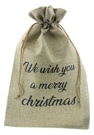 Jute zakje 20 x 30 cm we wish you a merry christmas zwart