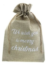 Jute zakje 20 x 30 cm we wish you a merry christmas wit