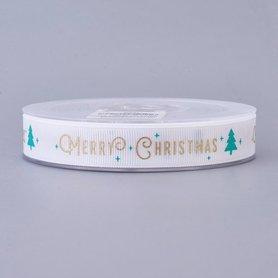Kerstlint grosgrain wit merry christmas 15 mm breed