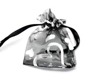 Organza zakjes zwart met zilver hartje