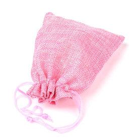 Jute zakje roze 9.5 x 13.5 cm