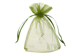 100 Organza zakje Olijf groen 7.5 x 10 cm
