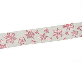 Kerstlint ijskristal 20 mm breed