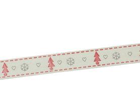Kerstlint kerstboom en ijskristal 15 mm breed