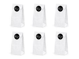 Witte papieren zakjes met thank you stickers 6 stuks