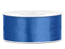 Blauw satijn lint 25 mm breed