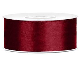 Bordeaux rood satijn lint 25 mm breed