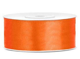 Oranje satijn lint 25 mm breed