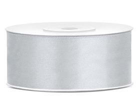 Zilver satijn lint 25 mm breed