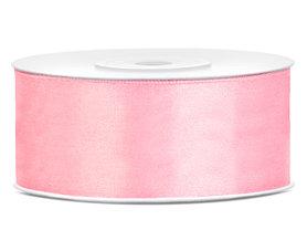 Roze satijn lint 25 mm breed