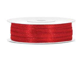 Rood satijn lint 3 mm breed