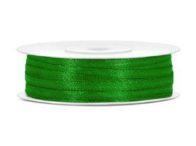 Groen satijn lint 3 mm breed