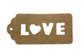 Kraft label LOVE geponst 4.5 x 9.5 cm 10 stuks