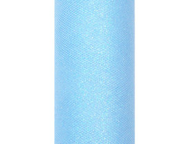 Tule lint licht blauw glitter 15 cm breed