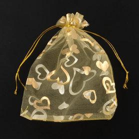Organza zakjes 100 stuks goud hartje goud zakje