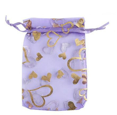 Organza zakjes lavendel met goud hartje