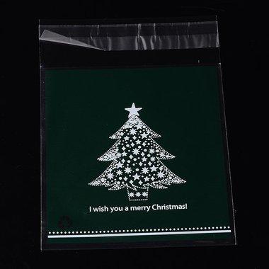 Cellofaan zakjes met plakstrip kerstboom groen achtergrond 10 stuks