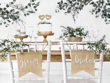 Jute stoel banner bride & groom