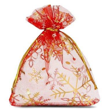 Organza zakjes kerst rood met gouden ijskristal 9 x 12 cm