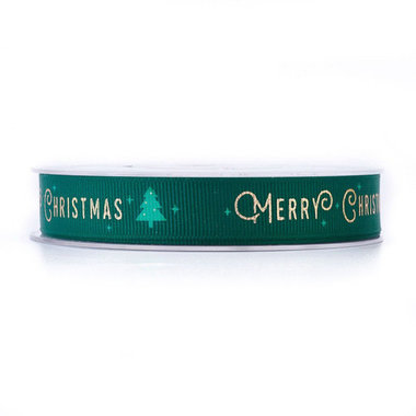 Kerstlint grosgrain groen merry christmas 15 mm breed