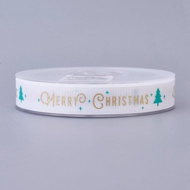 Kerstlint grosgrain wit merry christmas 15 mm breed