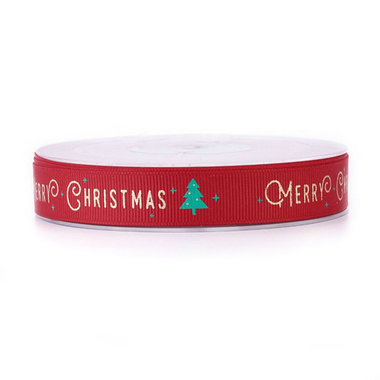 Kerstlint grosgrain rood merry christmas 15 mm breed
