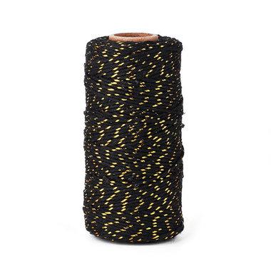 Bakkerstouw zwart goud metalic 100 meter