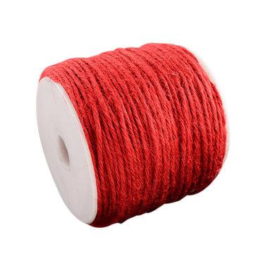 100 meter Hennep touw rood 2 mm dikte
