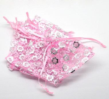 Organza zakjes 100 stuks zilver bloem roze organza zakje