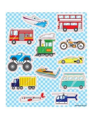Traktatie stickers auto moter vliegtuig trein
