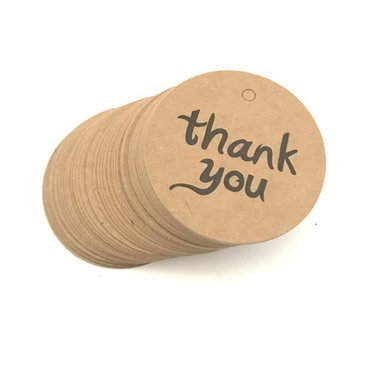 Label kraft rond thank you 10 stuks