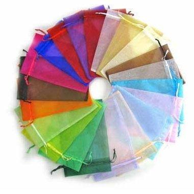 100 stuks 5 x 7 cm organza zakjes kleurenmix