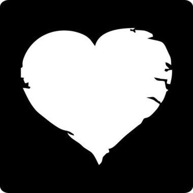 Stickers vierkant zwart met wit hart 10 stickers