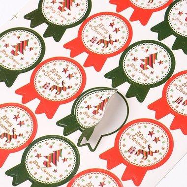 Kerst stickers 16 stuks op vel
