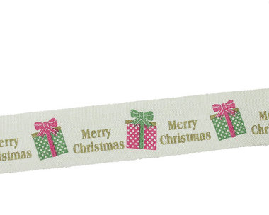 Kerstlint merry christmas en kado 20 mm breed