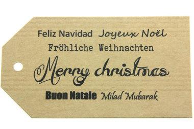 Kraft label xl merry christmas verschillende talen