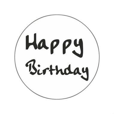 Ronde stickers happy birthday 10 stuks