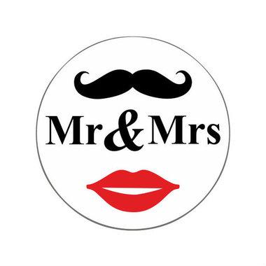 Ronde stickers Mr & Mrs 10 stuks