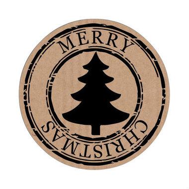 Ronde kraft stickers MERRY CHRISTMAS 10 stuks
