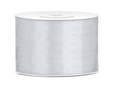 Zilver satijn lint 5 cm breed