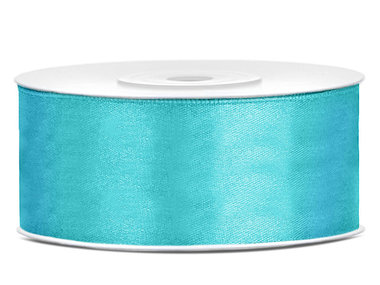 Turquoise satijn lint 25 mm breed