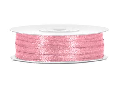 Roze satijn lint 3 mm breed