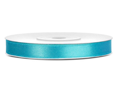 Turquoise satijn lint 6 mm breed