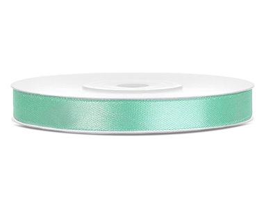 Mint satijn lint 6 mm breed