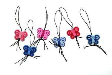 Gelukspoppetjes vlinder blauw roze