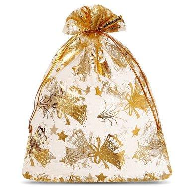 Organza zakjes goud met gouden ster en klok 20 x 30 cm