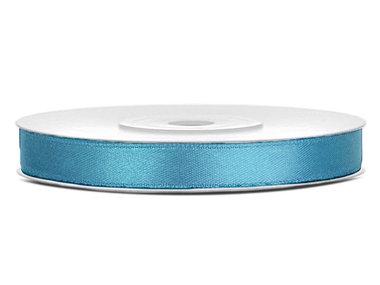Vintage blauw satijn lint 6 mm breed