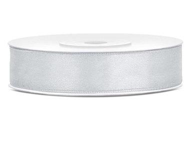 Dubbelzijdig satijn lint 1 cm breed zilver