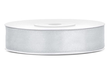 Dubbelzijdig satijn lint 1,5 cm breed zilver