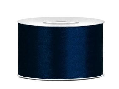 Dubbelzijdig satijn lint 38 mm donker blauw